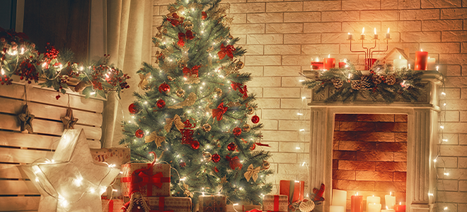 Classic Christmas tree, presents, and decorations