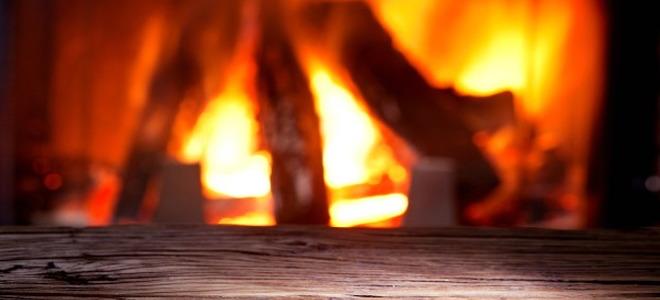 A burning fireplace.
