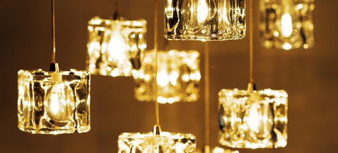 Hanging glass light fixtures.