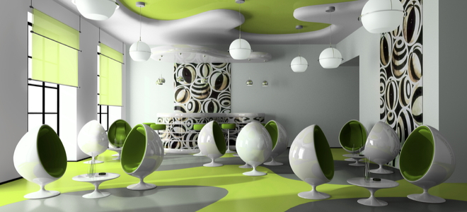contemporary cafe design concept with curvy, egg shaped chairs and lime accents