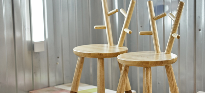 Wooden children's chairs with natural looking round seats and branched backs