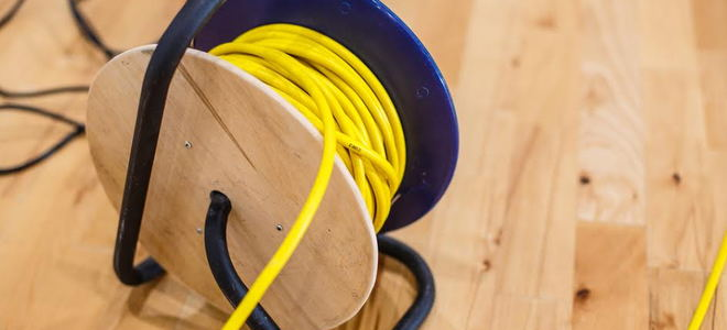 A roll of yellow extension cord.