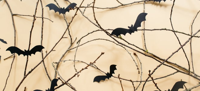 cheap halloween decoration with sticks and bats