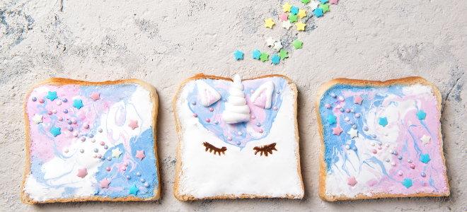 painted toast with unicorn design