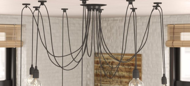 the chandelier in weak style with exposed light bulbs