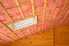 Attic ceiling packed with insulation