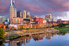 Nashville bridge and river in sunset