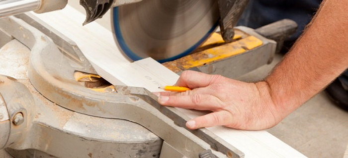 miter saw in use. miter saw in use