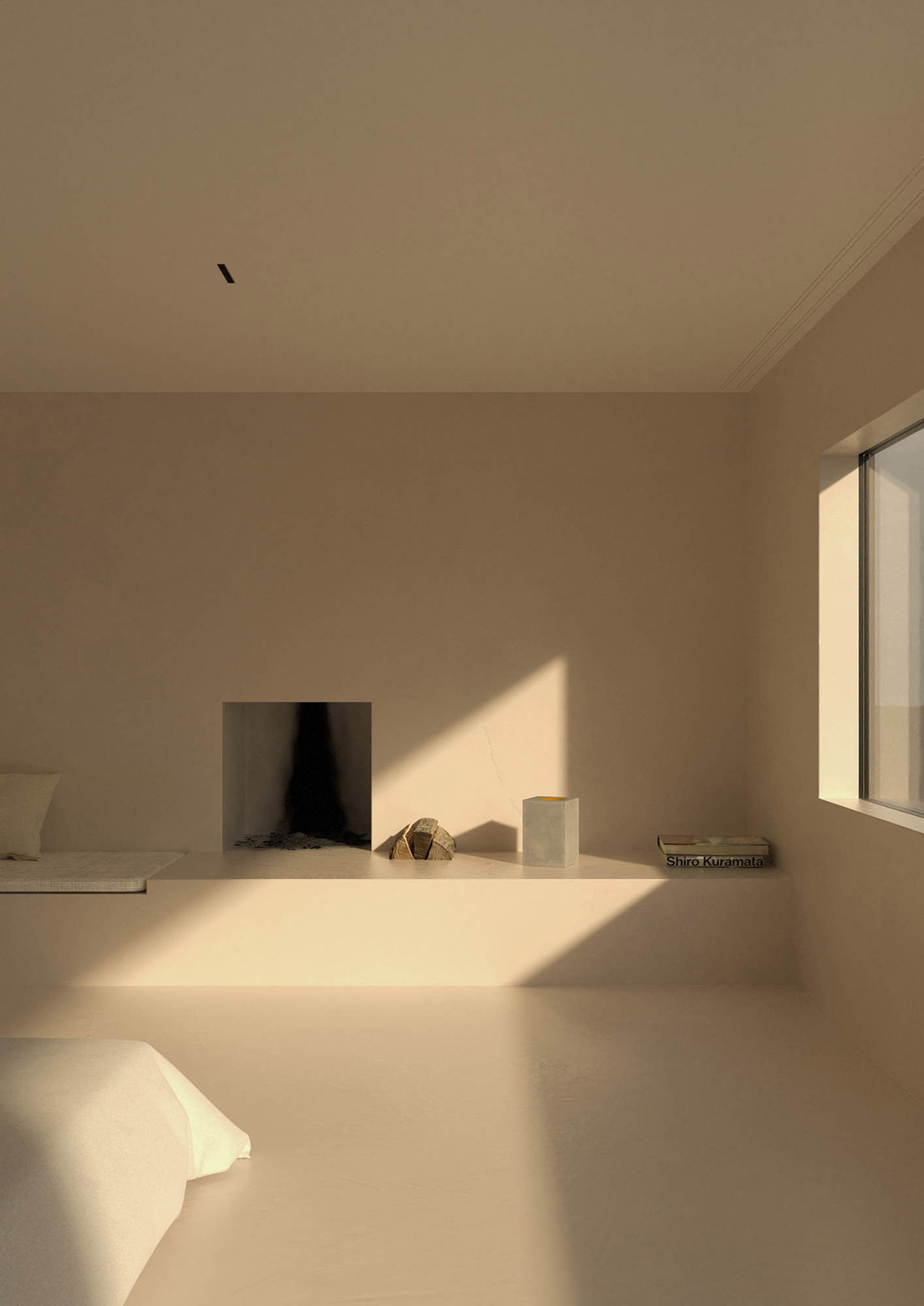 The ultra-minimalist fireplace featured in the