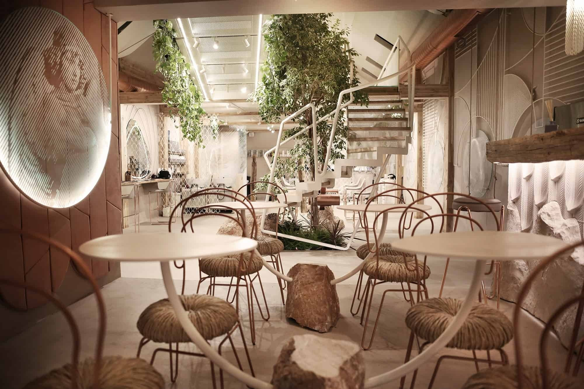 Sculptural tables and chairs featured inside Kosovo's new