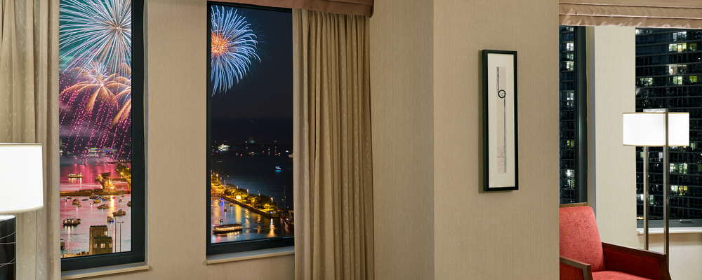 Room with Fireworks View from Navy Pier