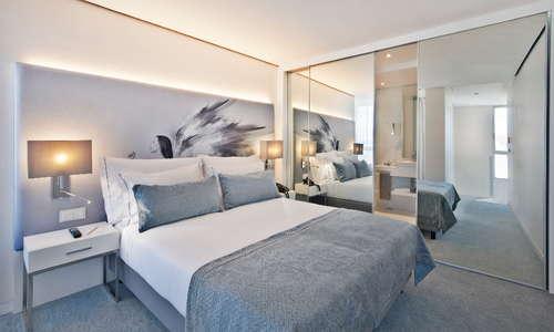 Bedroom of the duplex suite