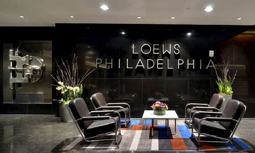 Comfortable seating in the Loews Philadelphia Lobby