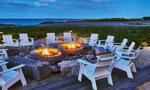 Fire pit overlooking Cape Cod Bay