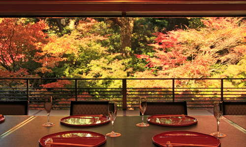 Experience the true Japanese Kaiseki cuisine over viewing the garden