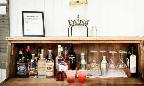 our honor bar is stocked with everything you need to fashion a tasty, hand crafted cocktail