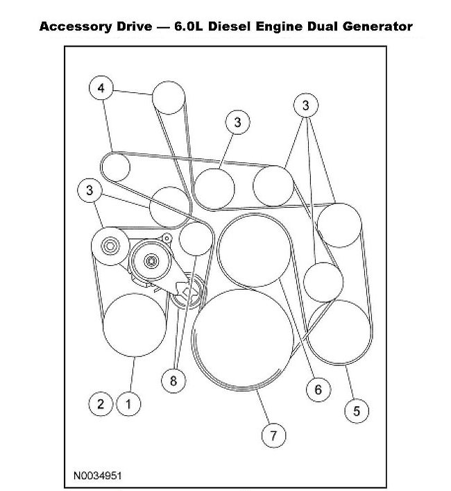 6literdiesel serpdiagram 1 22402 ford f150 f250 replace serpentine belt how to ford trucks