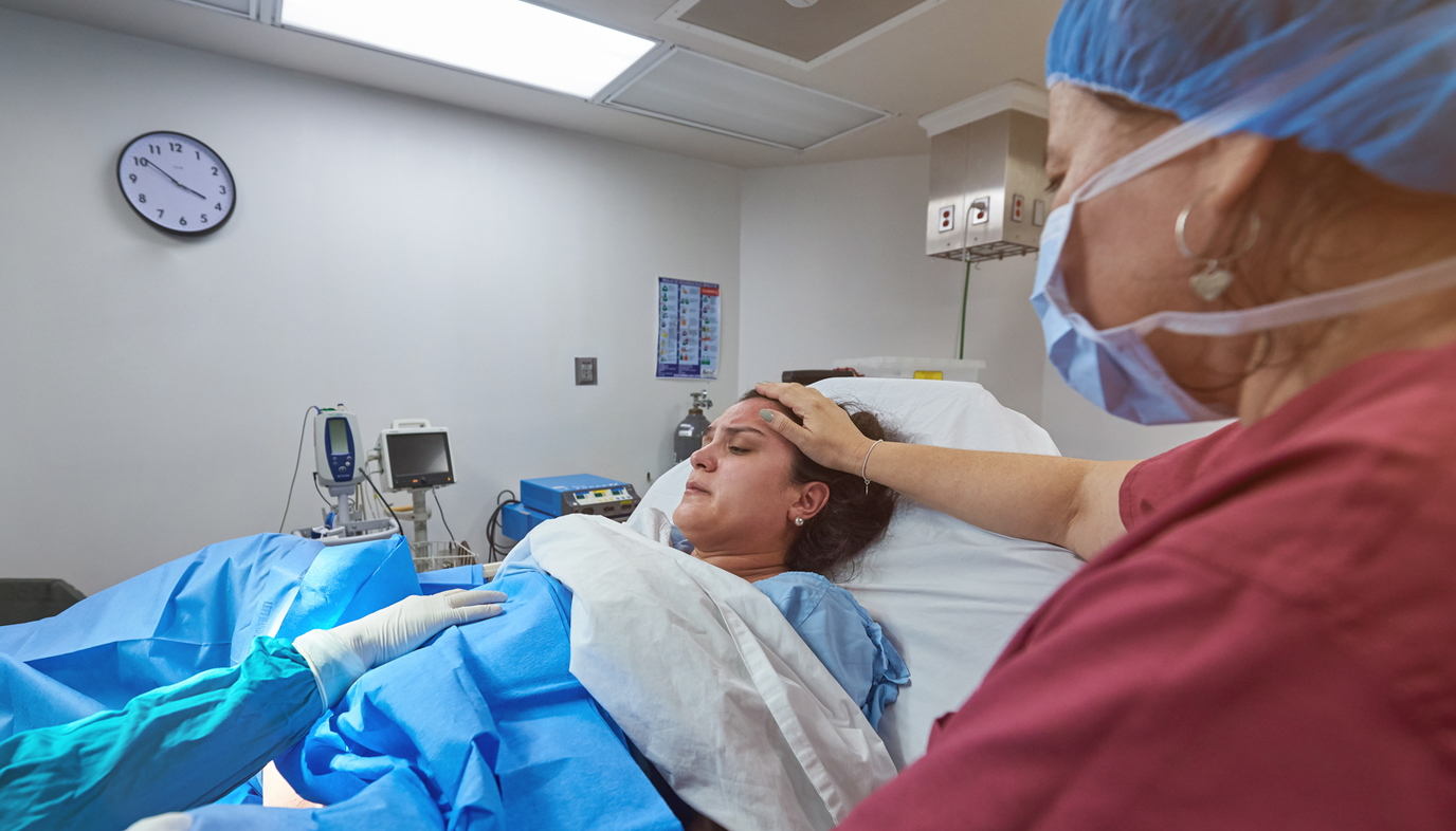 pregnant woman having csection in the hospital