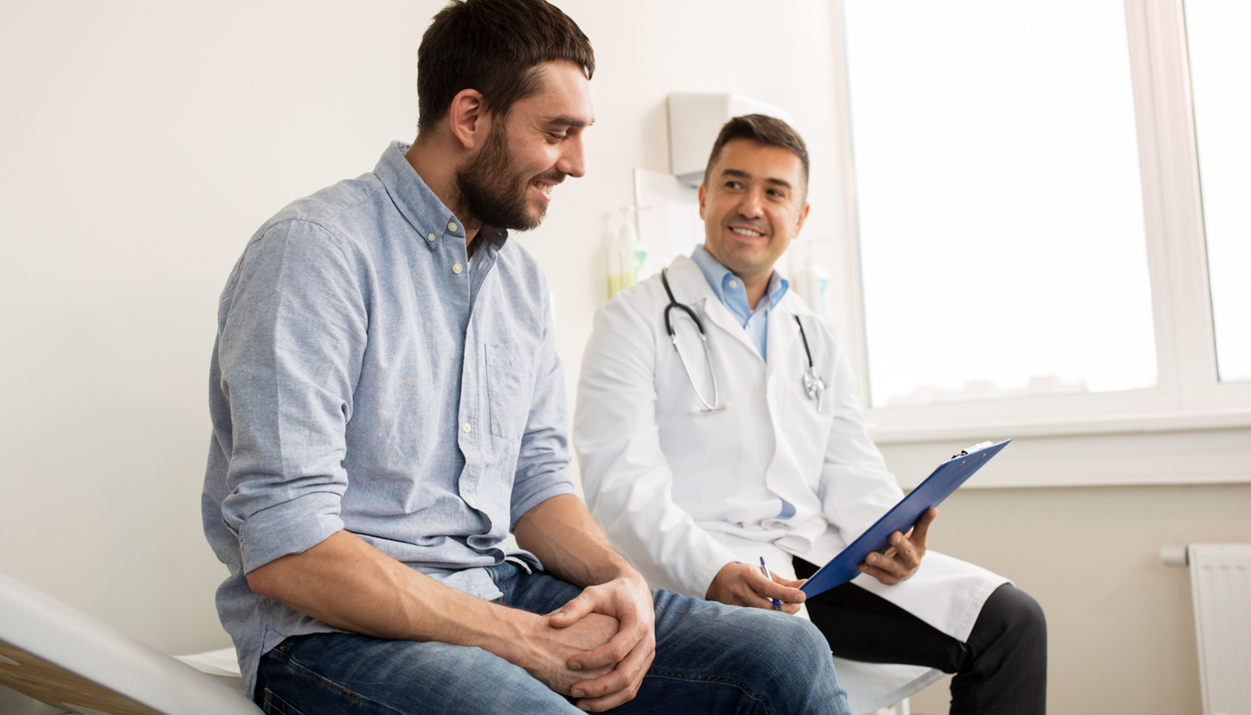 man talking to doctor about retrograde ejaculation