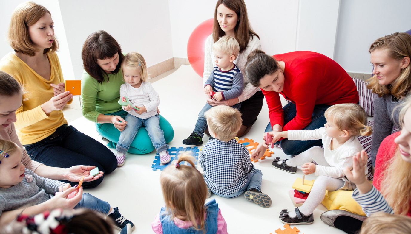 parents and kids in play group