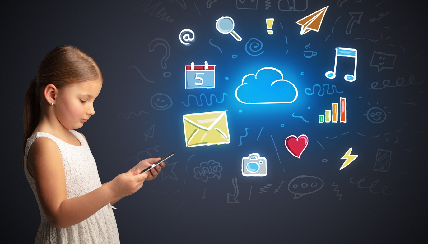 girl playing on smartphone with social media icons in the background