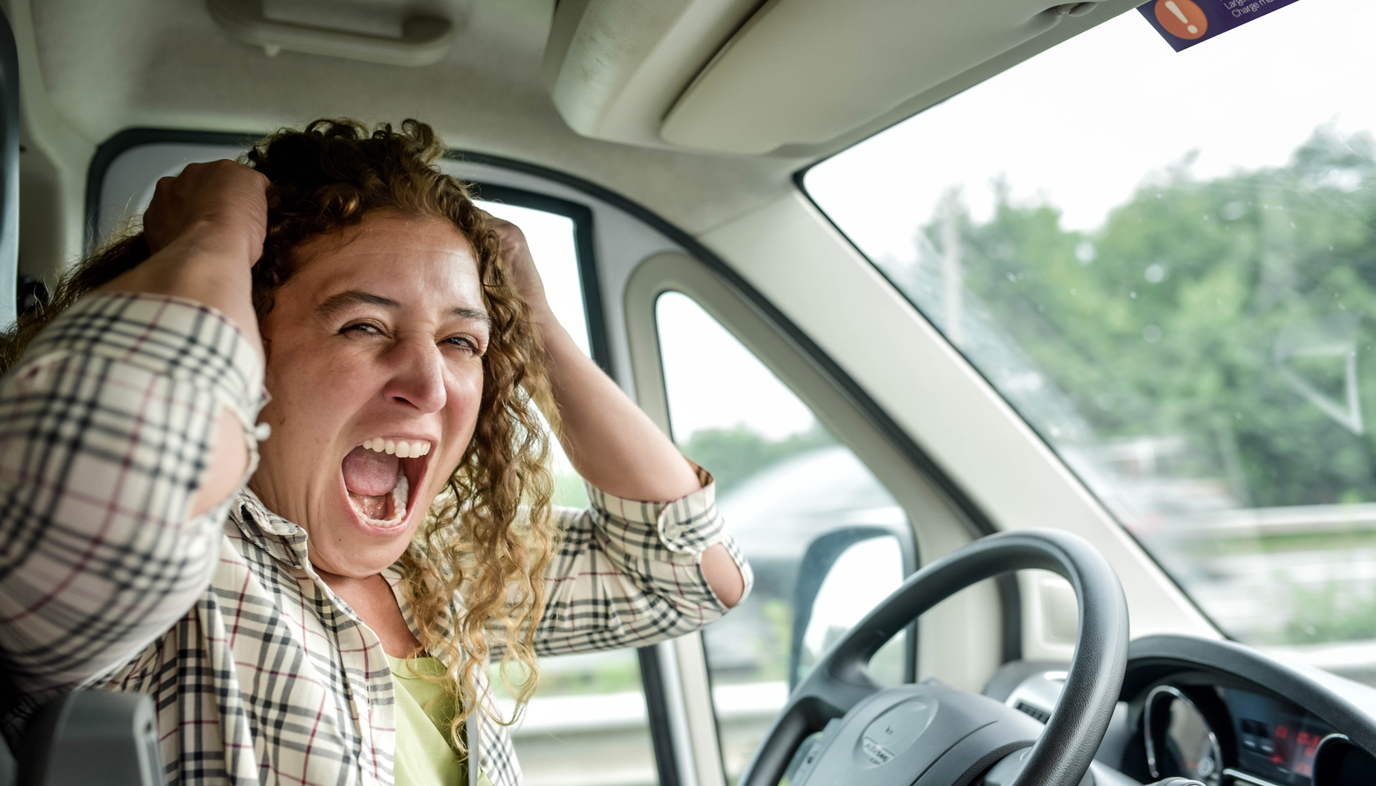 frustrated woman pulling on her hair