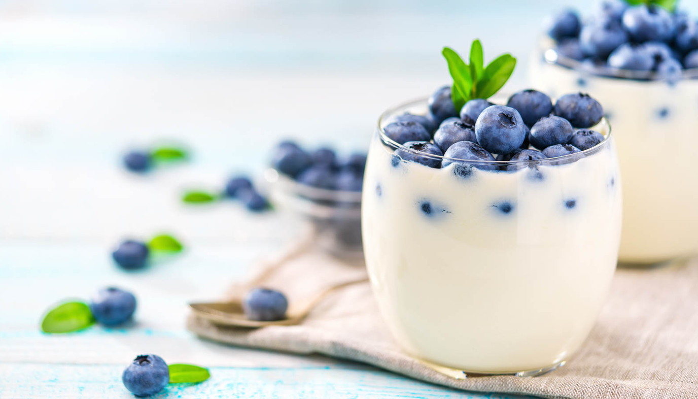 yogurt with blueberries in it