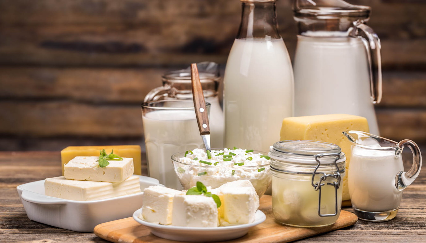 dairy products on a tray