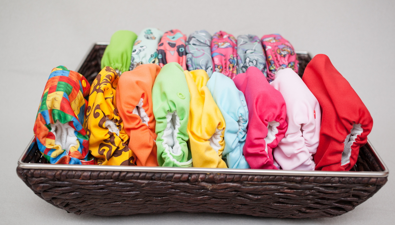 cloth diapers in a basket