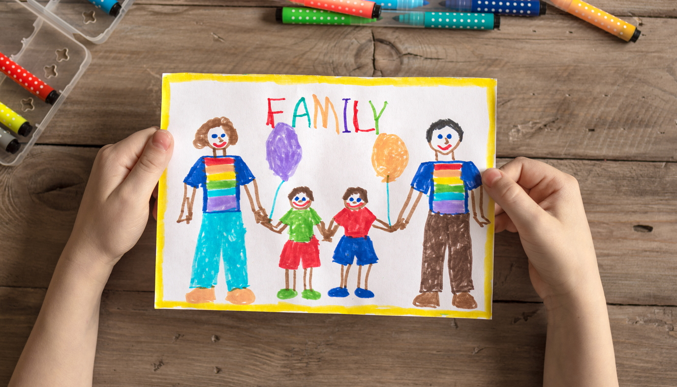 picture of a family in crayon