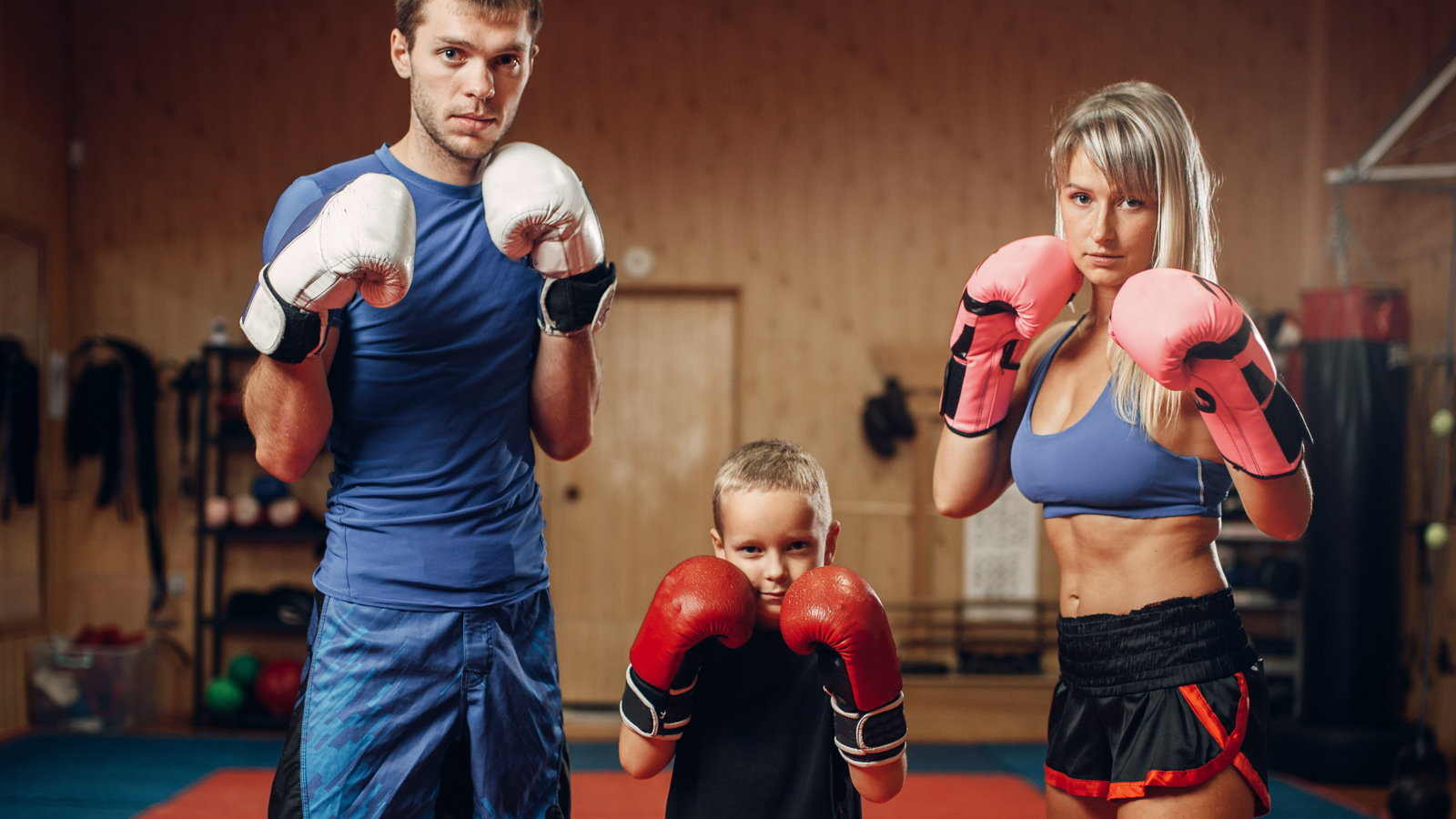 family doing kickboxing