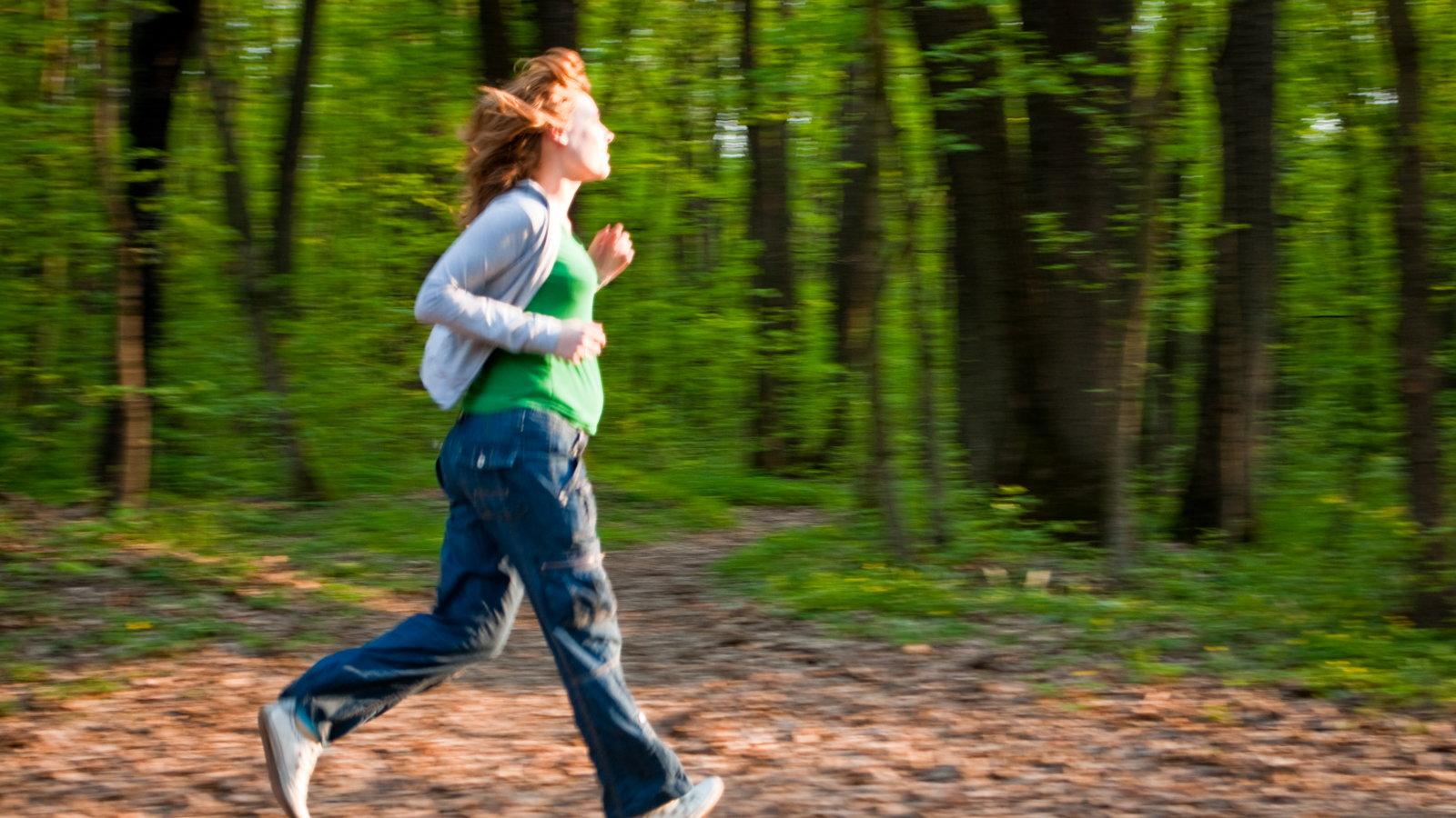 pregnant mom running