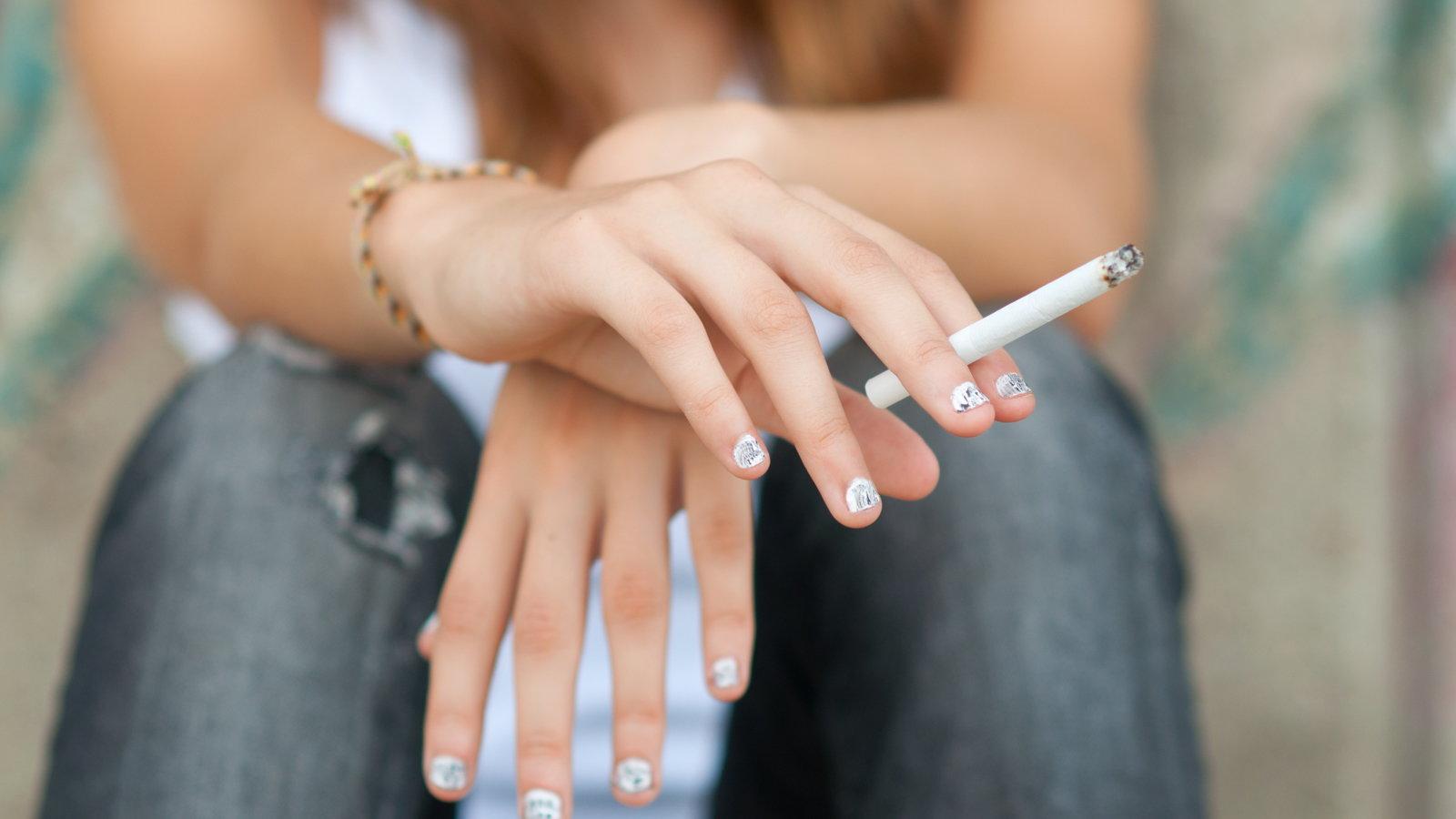 teen girl smoking