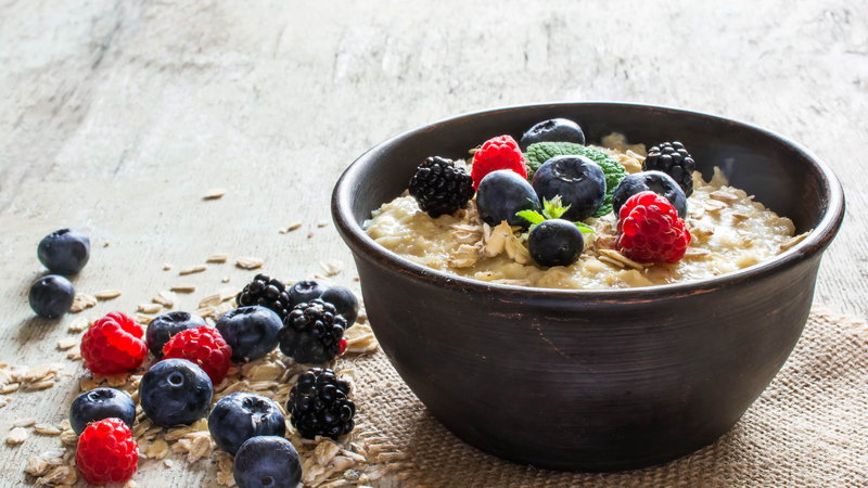 Bowl of oatmeal with berries