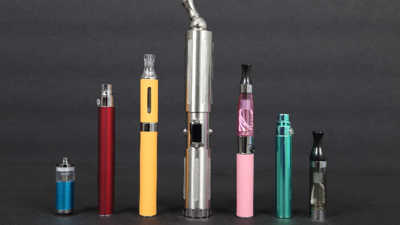 Collection of vape pens, juuls, and e-cigarettes.