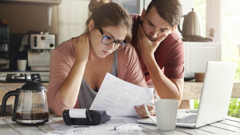 couple looking over finances