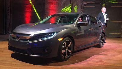 2016 Honda Civic sedan Touring at the reveal in Detroit