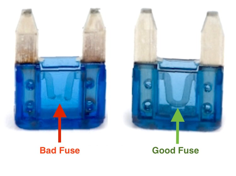 burned-out (left) and good fuses (right)