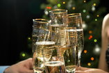 close up shot of people toasting with champagne