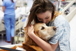 Woman in hospital bed recovering from eating disorder with pet