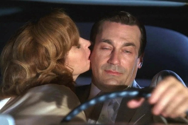 Don Draper driving drunk with Bobbie Barrett by his side