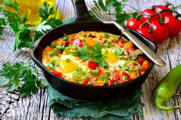 omelette in skillet
