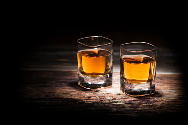 shots of whiskey on table