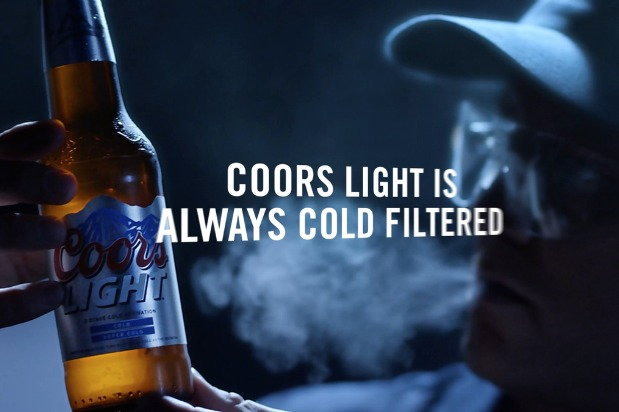 coors light ad where man exhales fog as he holds up bottle