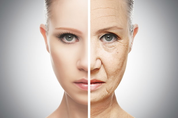 split image of the damage that alcohol abuse does to our skin