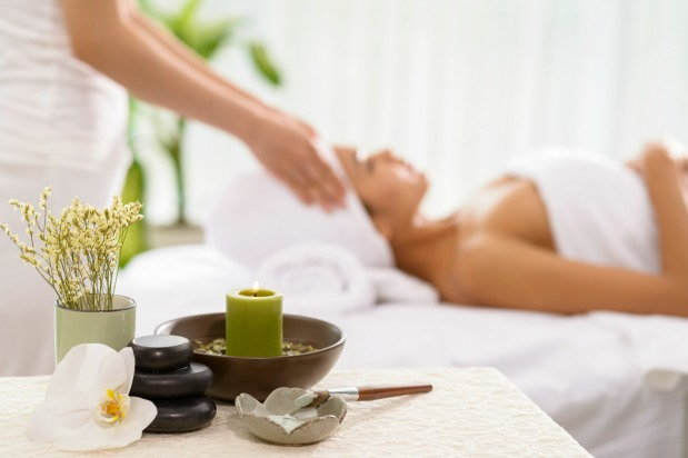 woman getting treatment at the spa