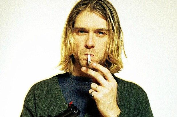 kurt cobain smoking a cigarette