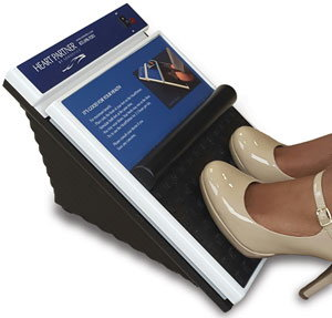 Woman's feet on an inclined box flexing her calf muscle pump for chronic venous disease.
