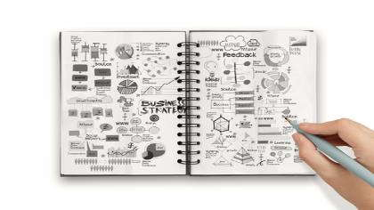 A notebook with scribbles and graphs.