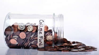 A jar fully of pennies labeled
